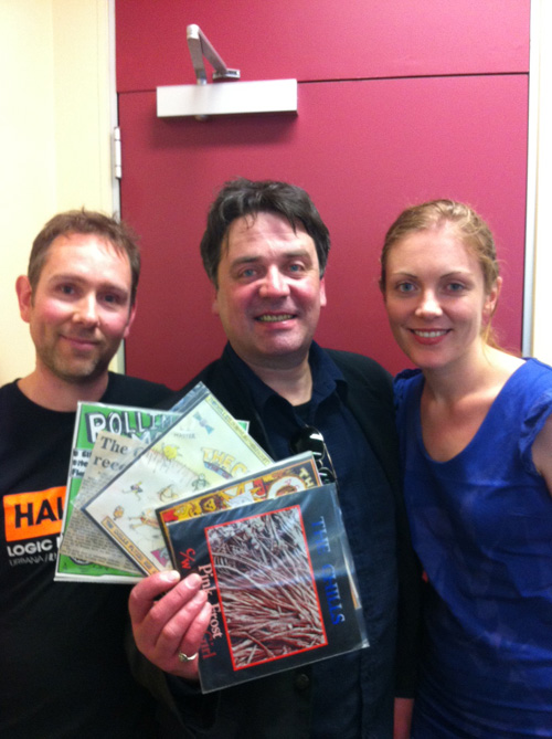 Cris, Martin and Emma with some Chills Vinyl from the RNZ library